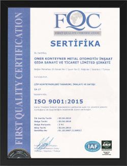 sertifika tasarım çöp konteyner
