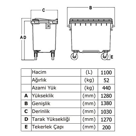 ONE-1006-Plastik-Cop-Konteyner-1100-Litre-TEKNIK